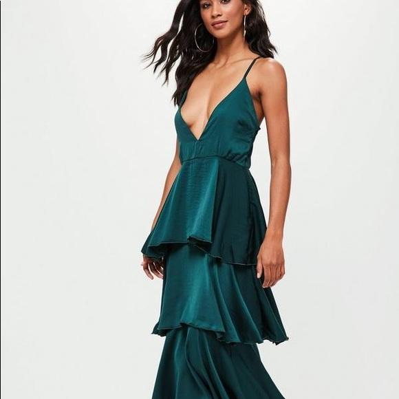 dd09600e43 Tiered ruffle teal green maxi dress